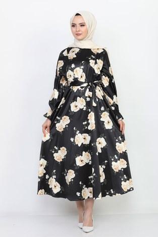 - Çiçek Desenli Saten 7108-1 Siyah