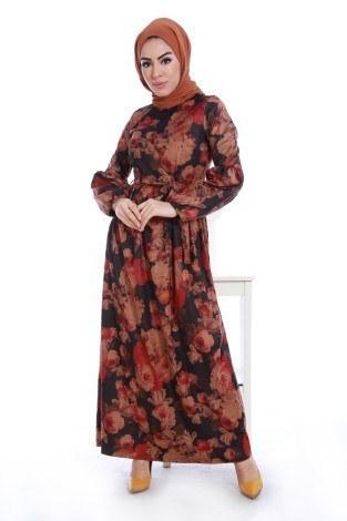 - Çiçek Desenli Süet Elbise 7858-03