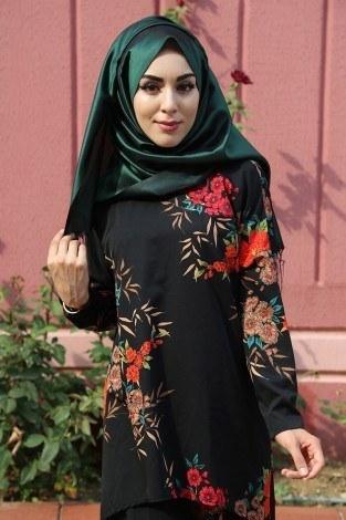 - Çiçek Desenli Tunik-Pantolon Takım 9275-2 Siyah (1)