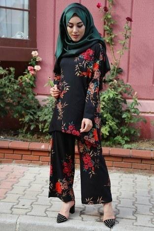 - Çiçek Desenli Tunik-Pantolon Takım 9275-2 Siyah