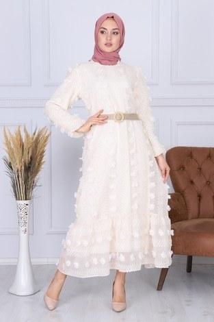 - Çiçek Detaylı Abiye Elbise 3345-2