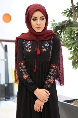 - Çiçek Nakışlı Elbise 8370-1-siyah (1)