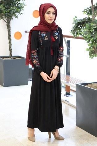 - Çiçek Nakışlı Elbise 8370-1-siyah