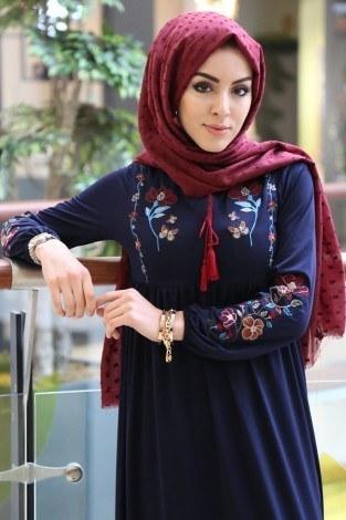 - Çiçek Nakışlı Elbise 8370-9-lacivert (1)