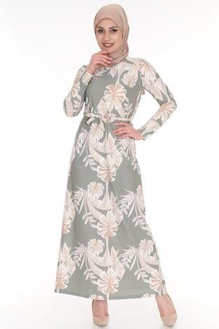- Çiçek Desenli Elbise 8508-373