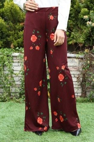 - Çiçekli Çizgili Pantolon 47194-2