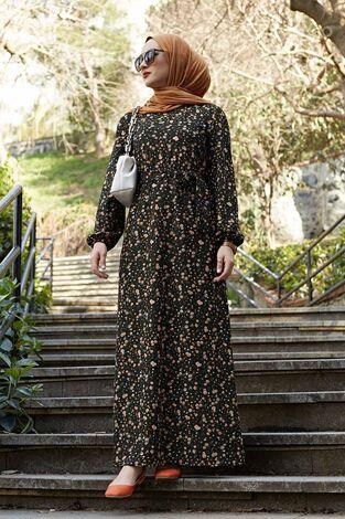 Çiçekli Elbise 100MD1252 Haki - Thumbnail