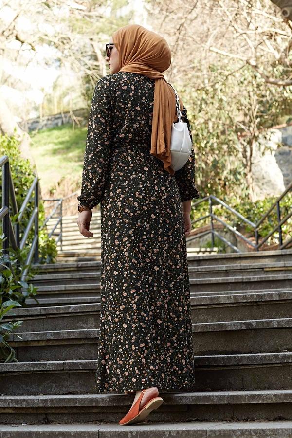 Çiçekli Elbise 100MD1252 Haki