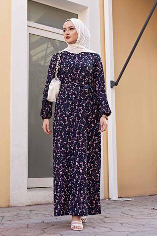Çiçekli Elbise 100MD1252 Lacivert - Thumbnail