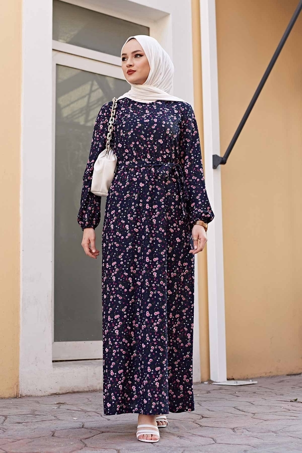 Çiçekli Elbise 100MD1252 Lacivert