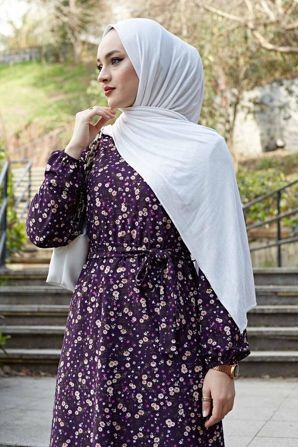 Çiçekli Elbise 100MD1252 Mor