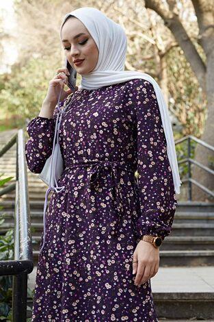 Çiçekli Elbise 100MD1252 Mor - Thumbnail