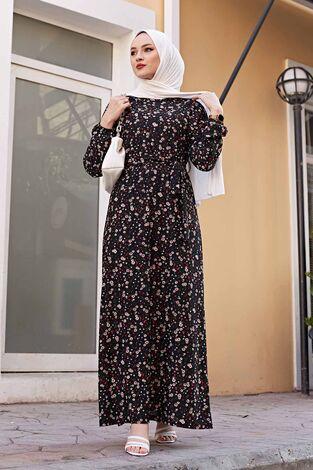 Çiçekli Elbise 100MD1252 Siyah - Thumbnail