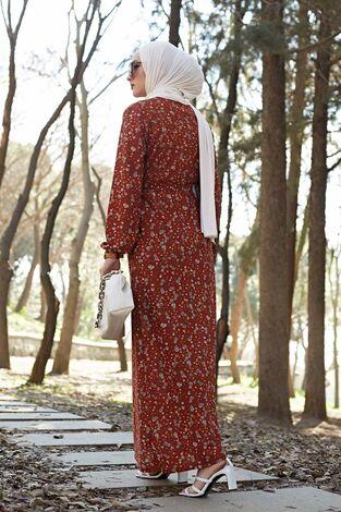 Çiçekli Elbise 100MD1252 Taba - Thumbnail