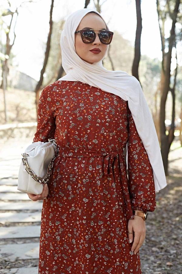 Çiçekli Elbise 100MD1252 Taba