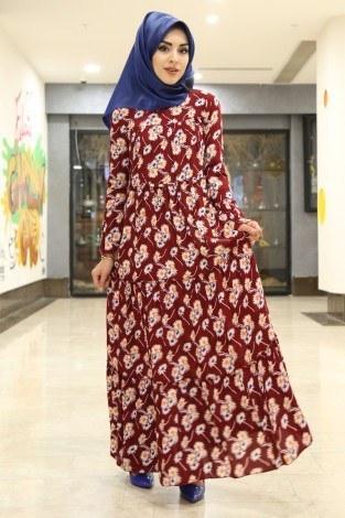 - Çiçekli Fırfırlı Elbise 3085-19 Kırmızı