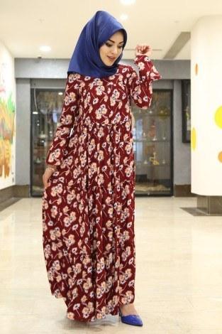 - Çiçekli Fırfırlı Elbise 3085-19 Kırmızı (1)