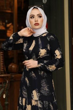 - Çift Büzgülü Desenli Elbise 17688-1 Siyah (1)