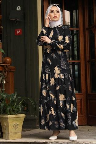 - Çift Büzgülü Desenli Elbise 17688-1 Siyah
