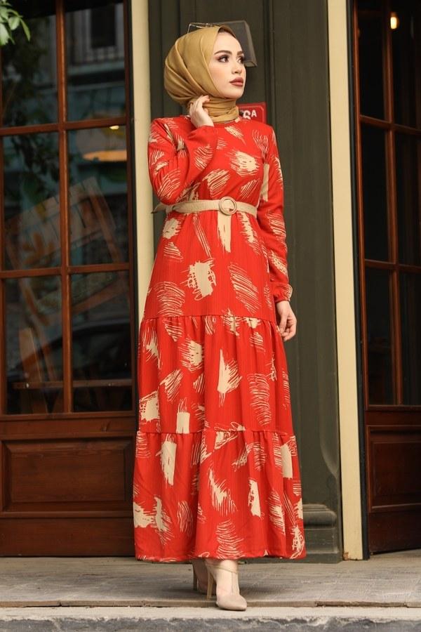 Çift Büzgülü Desenli Elbise 17688-2 Turuncu