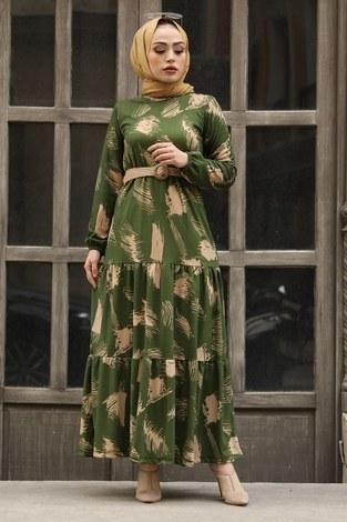 - Çift Büzgülü Desenli Elbise 17688-4 Haki