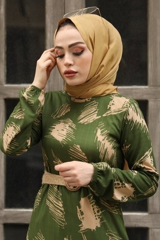 - Çift Büzgülü Desenli Elbise 17688-4 Haki (1)