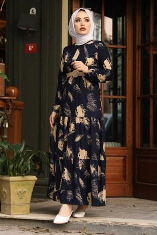 - Çift Büzgülü Desenli Elbise 17688-6 Lacivert