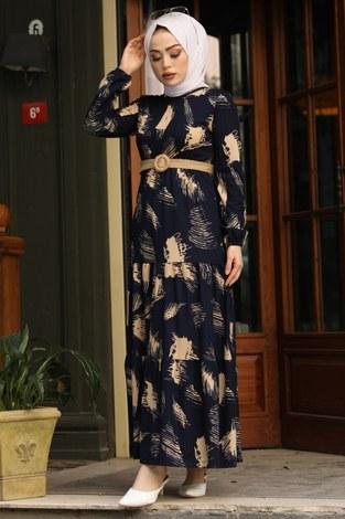 Çift Büzgülü Desenli Elbise 17688-6 Lacivert - Thumbnail