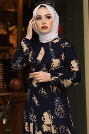- Çift Büzgülü Desenli Elbise 17688-6 Lacivert (1)
