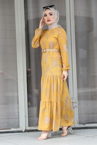 - Çift Büzgülü Desenli Elbise 17688-7 Sarı