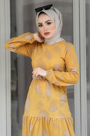 - Çift Büzgülü Desenli Elbise 17688-7 Sarı (1)