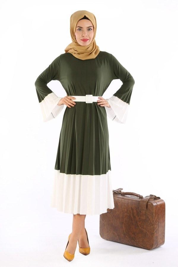 Çift Renk Piliseli Elbise 0744-02