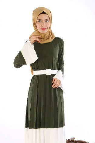 - Çift Renk Piliseli Elbise 0744-02 (1)