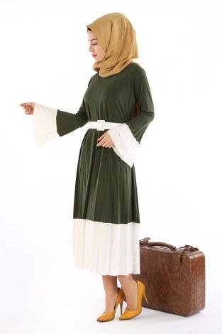 - Çift Renk Piliseli Elbise 0744-02