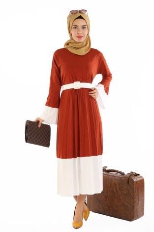 - Çift Renk Piliseli Elbise 0744-03