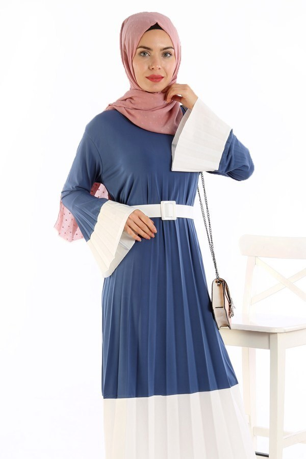 Çift Renk Piliseli Elbise 0744-04