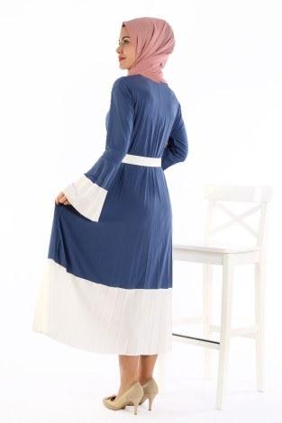 Çift Renk Piliseli Elbise 0744-04 - Thumbnail