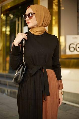- Çift Renk Triko Elbise 2169-1 Siyah-Taba (1)
