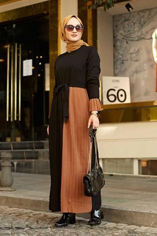 - Çift Renk Triko Elbise 2169-1 Siyah-Taba