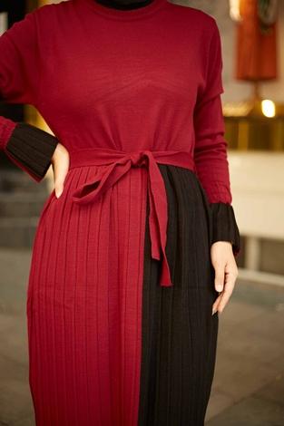 - Çift Renk Triko Elbise 2169-2 Bordo-Siyah (1)