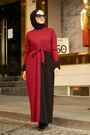 - Çift Renk Triko Elbise 2169-2 Bordo-Siyah