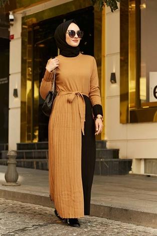 - Çift Renk Triko Elbise 2169-3 Camel-Siyah