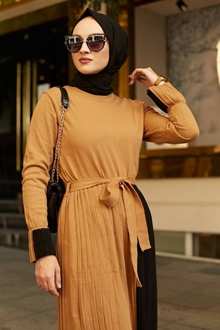 - Çift Renk Triko Elbise 2169-3 Camel-Siyah (1)
