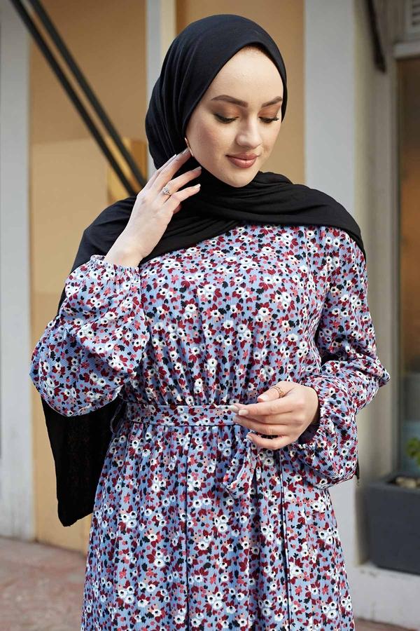 Çıtır Desen Anne Elbise 100MD-7205 Bebe Mavisi