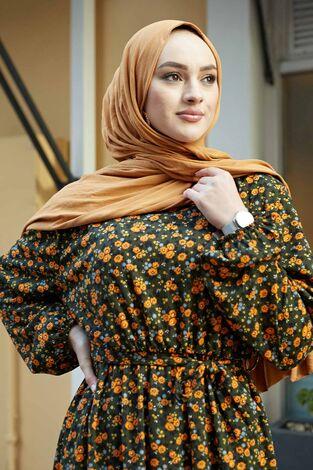 Çıtır Desen Anne Elbise 100MD-7205 Haki - Thumbnail