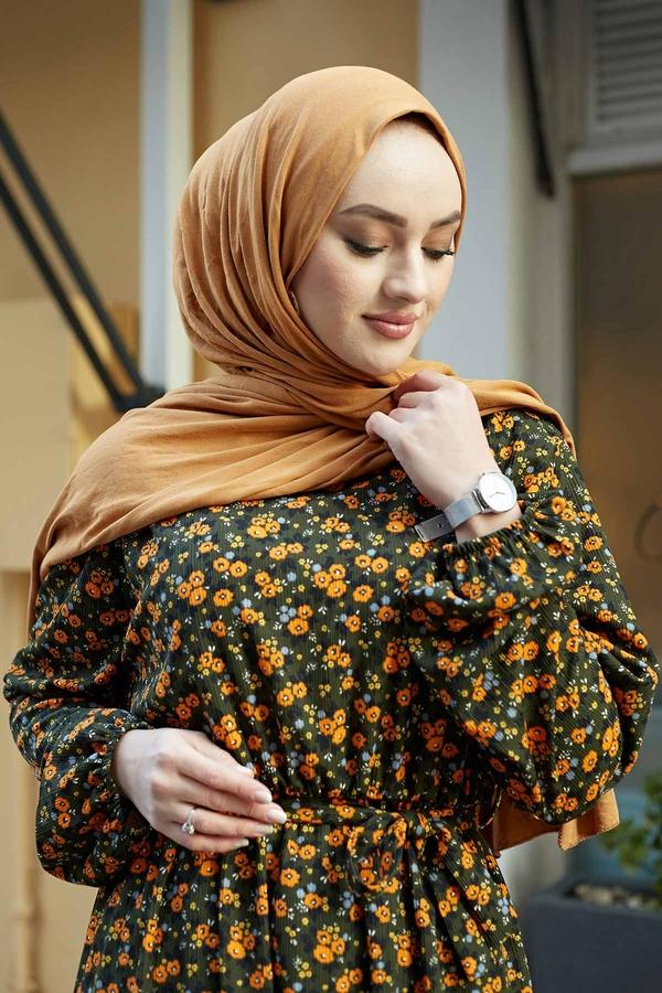 Çıtır Desen Anne Elbise 100MD-7205 Haki