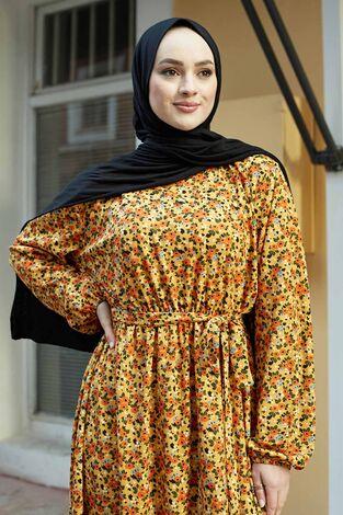 Çıtır Desen Anne Elbise 100MD-7205 Hardal - Thumbnail