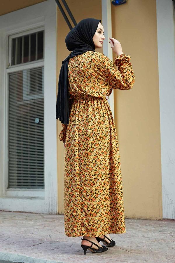 Çıtır Desen Anne Elbise 100MD-7205 Hardal