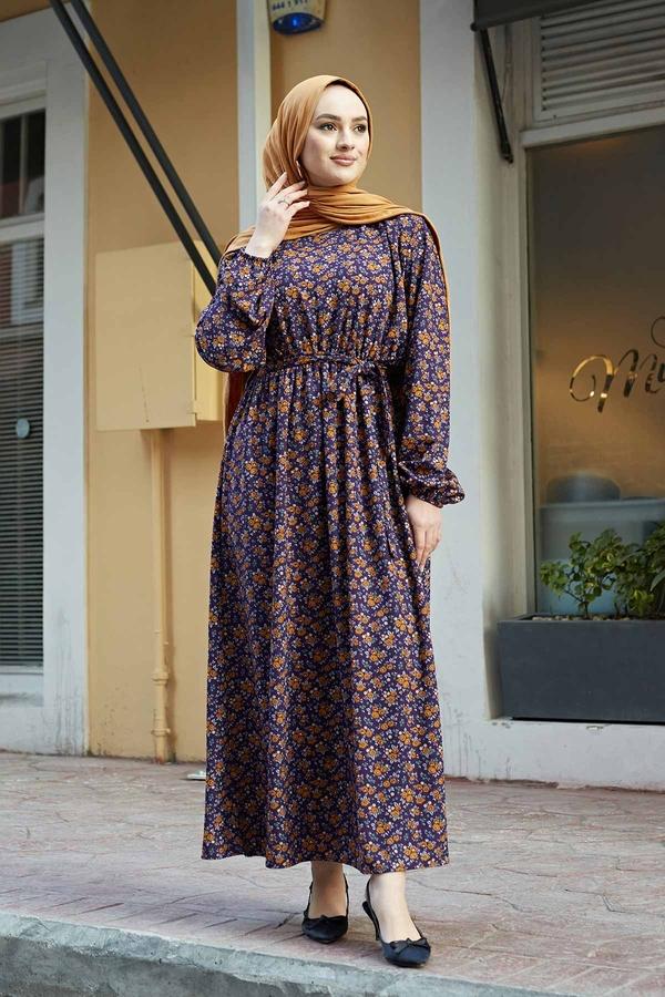 Çıtır Desen Anne Elbise 100MD-7205 Mor