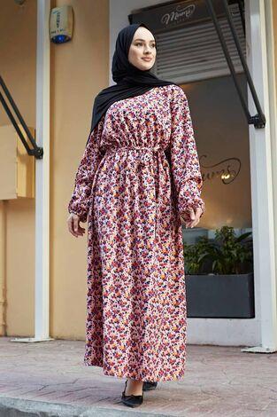 Çıtır Desen Anne Elbise 100MD-7205 Pudra - Thumbnail